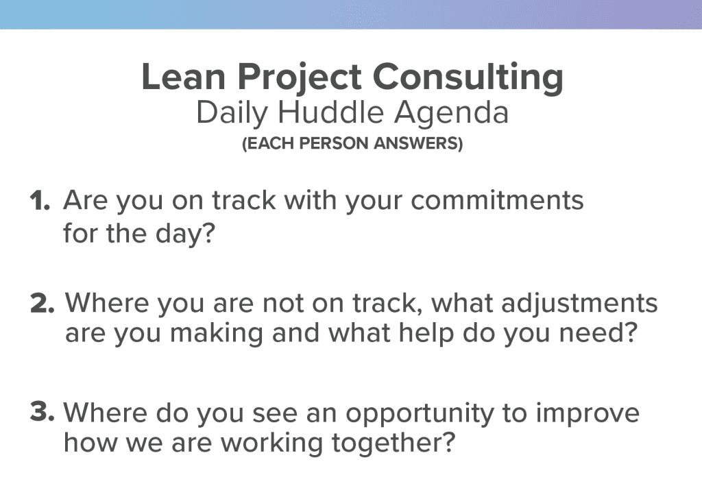 lean project consulting daily huddle agenda